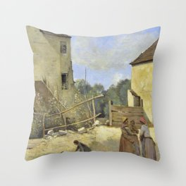 "Jean-Baptiste-Camille Corot ""Three peasant women chatting in a rustic courtyard"" Throw Pillow"