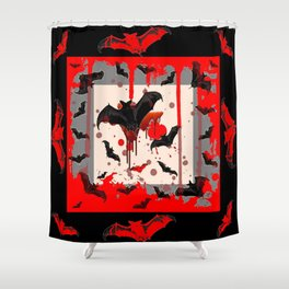 BLACK BATS & HALLOWEEN BLOODY ART DESIGNED Shower Curtain