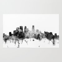 minneapolis Area & Throw Rugs featuring Minneapolis Minnesota Skyline by artPause