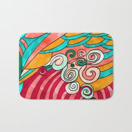 Simple Painting Abstract Multicolor Bath Mat