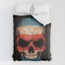 Dark Skull with Flag of Costa Rica Comforters