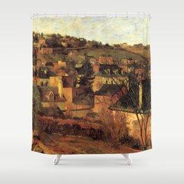 """Paul Gauguin - Blue Roofs of Rouen """"Les toits bleus, Rouen"""" (1884) Shower Curtain"""