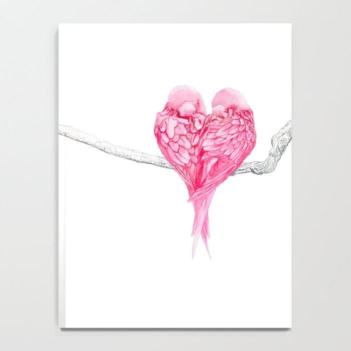 Pink Heart Birds Love Notebook