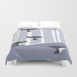Elegant Origami Birds Abstract Winter Design Duvet Cover