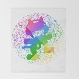 Rainbow MonsterCat Throw Blanket