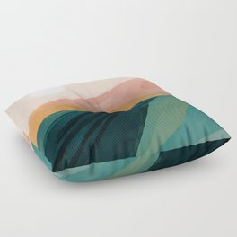 pink, green, gold moon watercolor mountains Floor Pillow