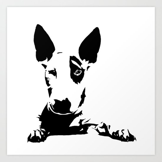 English Bull Terrier Dog Breed Art Black White Monochrome Art - Bull terrier art