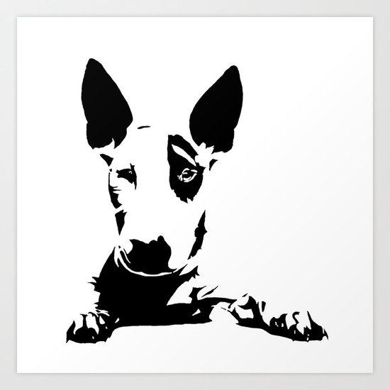 English Bull Terrier Dog Breed Art Black White Monochrome Art - Bull terrier art