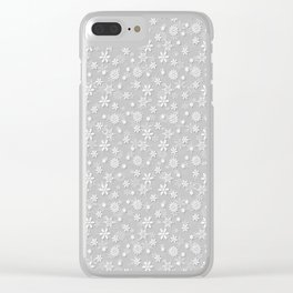 Festive Silver Grey and White Christmas Holiday Snowflakes Clear iPhone Case