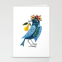 oana befort Stationery Cards featuring BLUE BIRD by Oana Befort