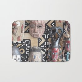 African Mask display on fabric collection Bath Mat