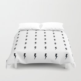 Black Lightning on White Duvet Cover