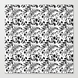Black tropical floral leaves hand painted illustration Canvas Print