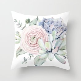 Succulent Blooms Throw Pillow