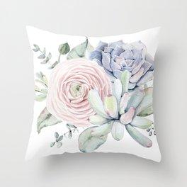 Succulent Blooms Throw Pillow