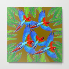 GREEN JUNGLE BLUE MACAW PARROTS Metal Print