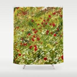 Impressionist Poppies Shower Curtain