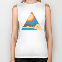 camping Biker Tanks featuring Camping by Wendy Ding: Illustration
