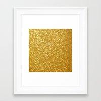 gold glitter Framed Art Prints featuring GOLD GLITTER by I Love Decor