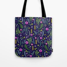 Ferns and Flowers Blue Tote Bag