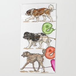 Dogs with Balloons Beach Towel