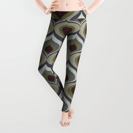 Blue, Gray, Green and Brown Geometric Retro Pattern Leggings