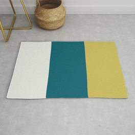 3 Bold Wide Vertical Lines Line Pattern Minimal Stripes Off White, Dark Yellow and Tropical Dark Teal Inspired by Sherwin Williams 2020 Trending Color Oceanside SW6496 Rug