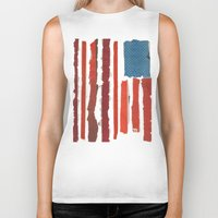 american flag Biker Tanks featuring American Flag  by Robert Payton