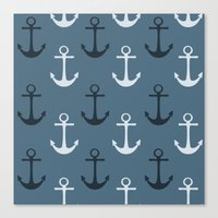 anchors Canvas Prints featuring Anchors by Zen and Chic