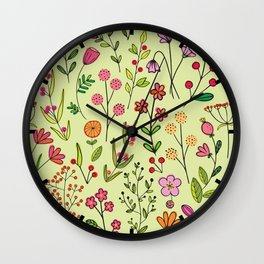 Doodles Botanical (pretty floral pattern) Wall Clock