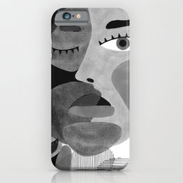 Abstract woman face with eyes in B&W illustration iPhone Case