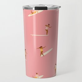 Surf girls in pink Travel Mug