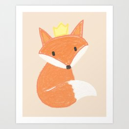 Kids room fox with crown Art Print