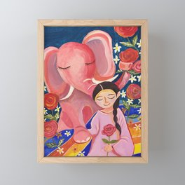 Elephant Somin and a girl in June night | Yuko Nagamori Framed Mini Art Print