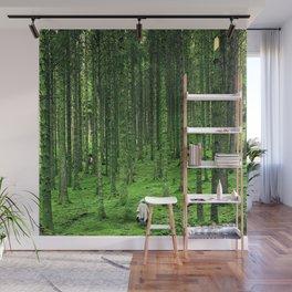 Green Wood Wall Mural