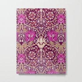 Art Nouveau Floral, Plum, Beige and Deep Purple Metal Print