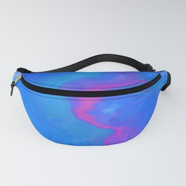 Fantasy II - Bright Sapphire Blue Ultra Violet Purple Fluid Abstract Fanny Pack