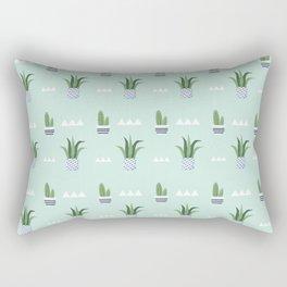 Modern teal green white triangles cactus floral pattern Rectangular Pillow