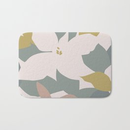 Leafy Floral Collage on Pale Pink Bath Mat