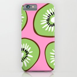 Bright Pink and Green Bold Kiwifruit Pattern Poster iPhone Case