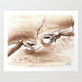 The Creation of Coffee Art Print