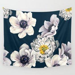 White Flower Rain Wall Tapestry