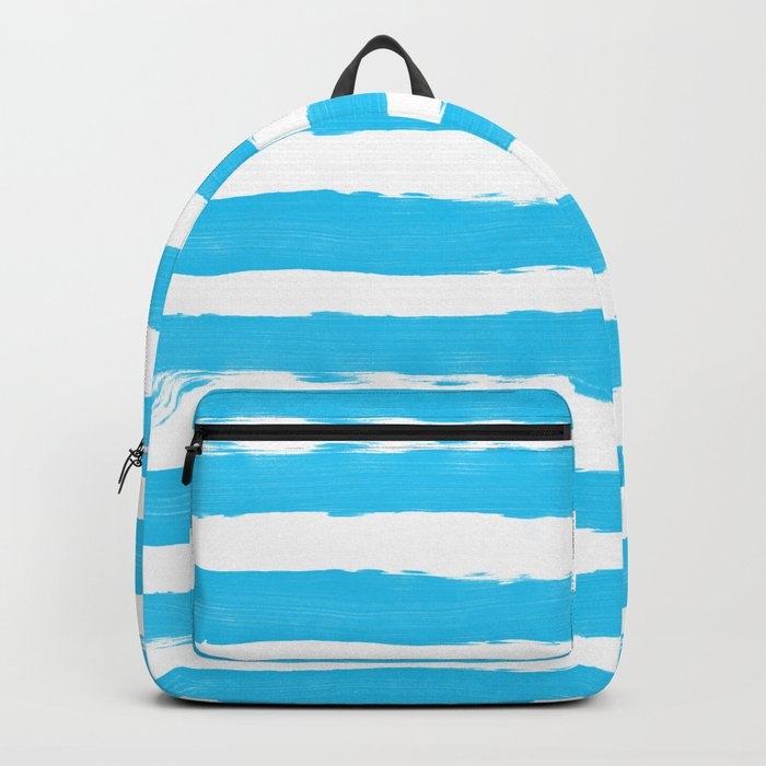 Simple aqua and white handrawn stripes - horizontal - for your summer on #Society6 Backpack