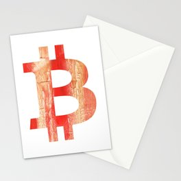 Bitcoin Burnt sienna watercolor Stationery Cards