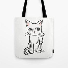 White funny cat Tote Bag