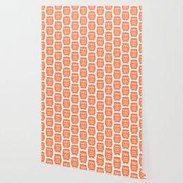 Mid Century Owl Pattern Orange Wallpaper