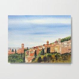 Assisi Italy with Basilica Of San Francesco Metal Print