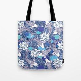 Blue Koi Ripples Tote Bag