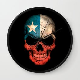 Dark Skull with Flag of Chile Wall Clock