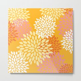 Abstract Flowers Print, Orange, Pink, Yellow Metal Print